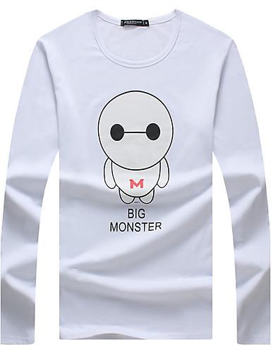Homens Camiseta - Esportes / Casual / Tamanhos Grandes Estampado Algodão / Manga Longa