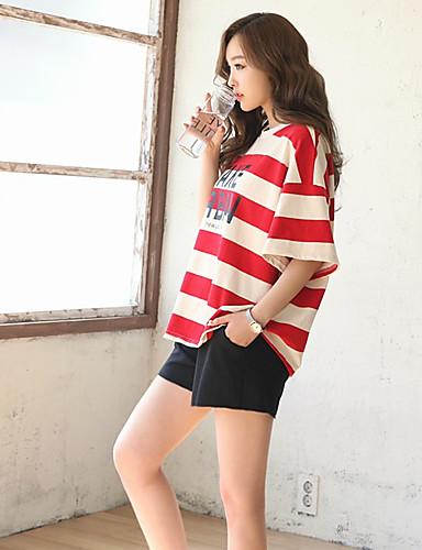 Damen Gestreift Street Schick Ausgehen T-Shirt-Ärmel Hose Anzüge,Rundhalsausschnitt Sommer ½ Ärmel Rückenfrei Dehnbar