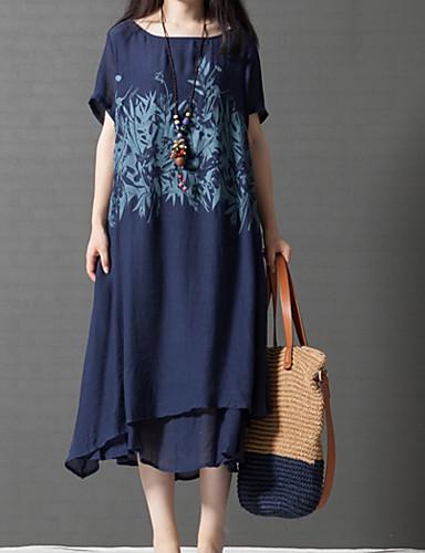 preiswerte Damen Kleider-Damen Übergrössen Chinoiserie Baumwolle A-Linie Lose Kleid - Mehrlagig Druck, Bäume / Blätter Midi Blau