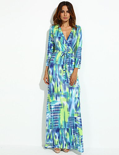Women's Party Casual A Line Dress,Print V Neck Maxi Long Sleeves Polyester Fall Mid Rise Micro-elastic Thin