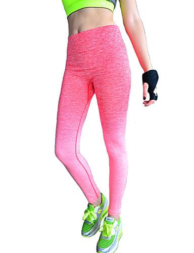 Dame Bomuld Polyester Medium Ensfarvet Legging Grå Lilla Rød Blå