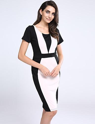 Damen A-Linie Bodycon Kleid - Gespleisst, Patchwork Hohe Hüfthöhe