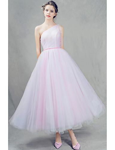 A-Linie Ein-Schulter Knöchel-Länge Tüll Abschlussball / Abiball Kleid mit Perlenstickerei Plissee durch Shang Shang Xi