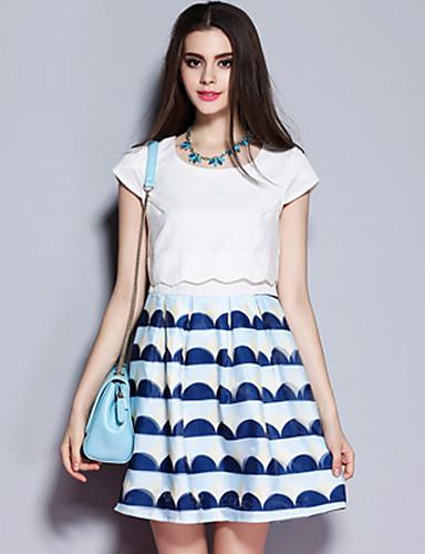 sybel kvinders gå ud / gade chic kappe kjole, geometriske rund hals over knæet kortærmet hvid polyestersummer