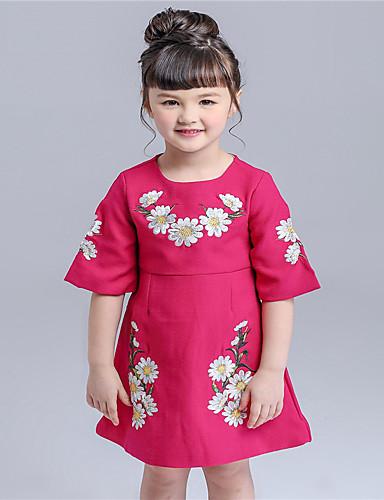 Menina de Vestido,Casual Floral Algodão Primavera / Outono Vermelho