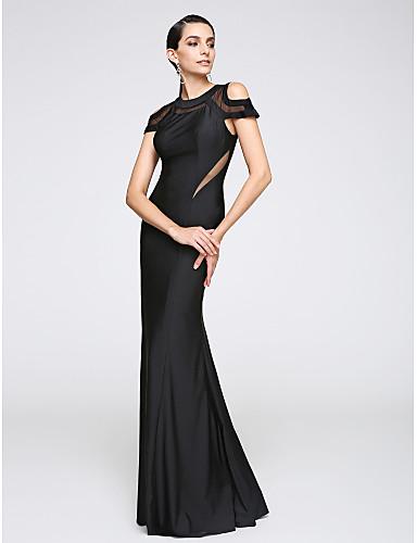 Trompet / Deniz Kızı Taşlı Yaka Yere Kadar Jarse Pileler ile Resmi Akşam Elbise tarafından TS Couture®