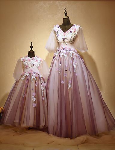 Linha A Princesa Decorado com Bijuteria Longo Tule Charmeuse Evento Formal Vestido com Miçangas Apliques Flor de Huaxirenjiao