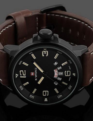 Heren Modieus horloge Digitaal / Leer Band Vrijetijdsschoenen Zwart
