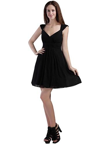 A-linje Figursyet Skulderfri Kort / mini Chiffon Cocktailparty Kjole med Plissé ved TS Couture®
