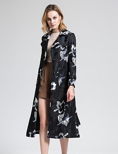 BORME® Dames Overhemdkraag Lange mouw Trenchcoat Zwart Fade / Zilver-Y075