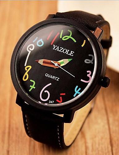 YAZOLE בגדי ריקוד נשים קווארץ שעון יד שעונים יום יומיים עור להקה יום יומי אלגנטי אופנתי שחור חום