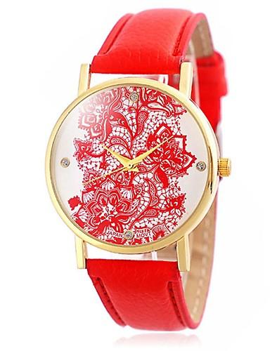 Damen Armbanduhr Armbanduhren für den Alltag / Cool / / Leder Band Blume / Retro / Freizeit Schwarz / Weiß / Blau