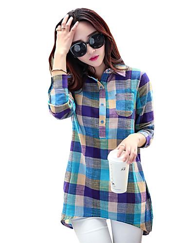 abordables Camisas y Camisetas para Mujer-Mujer Camiseta, Cuello Camisero Corte Ancho A Cuadros Azul L / Primavera / Otoño
