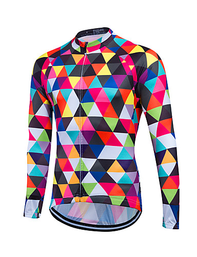cheap Cycling Clothing-21Grams Men's Women's Long Sleeve Cycling Jersey Argyle Plus Size Bike Sweatshirt Jersey Top Breathable Quick Dry Reflective Strips Sports Coolmax® 100% Polyester Mountain Bike MTB Road Bike Cycling