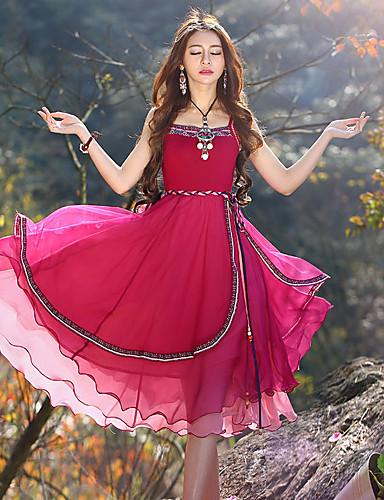 Dame Vintage I-byen-tøj Shift / Skede Kjole Blomstret,Med stropper Maxi Uden ærmer Rød Polyester Sommer Alm. taljede Uelastisk Medium