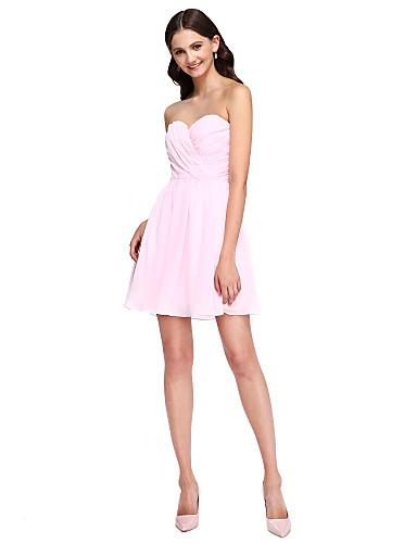 Linha A Decote Princesa Curto / Mini Chiffon Vestido de Madrinha com Flor(es) Faixa / Fita Cruzado de LAN TING BRIDE®