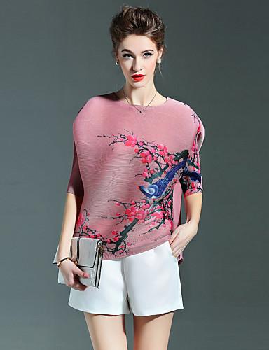 Druck Einfach Ausgehen T-shirt,Rundhalsausschnitt ½ Länge Ärmel Blau / Rosa / Grau / Lila Polyester Dünn