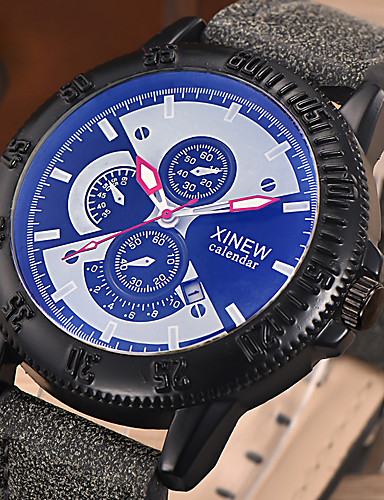 Heren Polshorloge Dress horloge Modieus horloge Kwarts Kleurrijk Punk Stopwatch Lichtgevend PU Band Vintage Informeel Cool Zwart Blauw