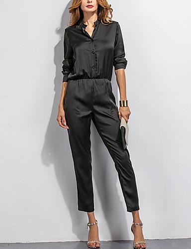Langærmet Kvinders Vintage Jumpsuits Mikroelastisk Polyester