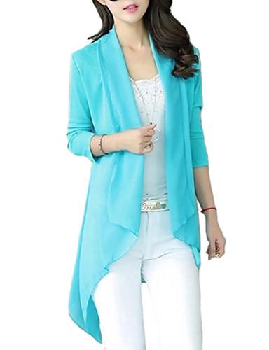 여성의 솔리드 카울 넥 ¾ 소매 셔츠,스트리트 쉬크 캐쥬얼/데일리 블루 / 레드 / 블랙 / 옐로 폴리에스테르 여름 중간