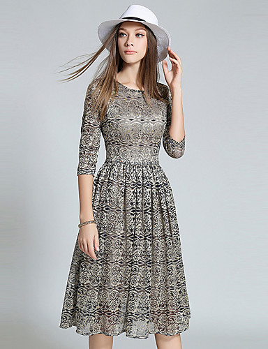 Damer Sofistikerede I-byen-tøj Skede Kjole Trykt mønster,Rund hals Knælang Polyester Efterår Alm. taljede Uelastisk Medium