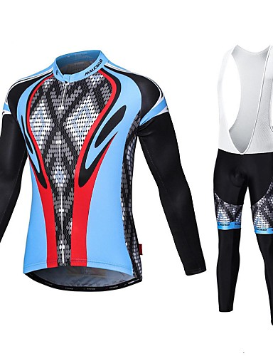 cheap Cycling Clothing-Malciklo Men's Long Sleeve Cycling Jersey with Bib Tights - White Black Bike Tights Breathable 3D Pad Quick Dry Sports Coolmax® Elastane Lycra Snake Mountain Bike MTB Road Bike Cycling Clothing