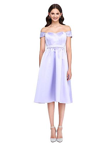 A-Linie Knie-Länge Satin Brautjungfernkleid mit Schärpe / Band durch LAN TING BRIDE®