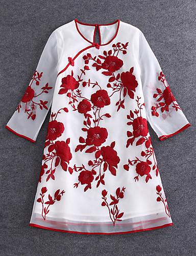 Dame Vintage / Kineseri I-byen-tøj Løstsiddende Kjole Broderi,Rund hals Mini 1/2 ærmelængde Blå / Rød Rayon / Polyester SommerAlm.
