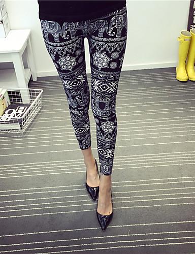 Dames Bloemmotief Polyester Print,Legging One Size is passend voor S en M, zie de maattabel hieronder.