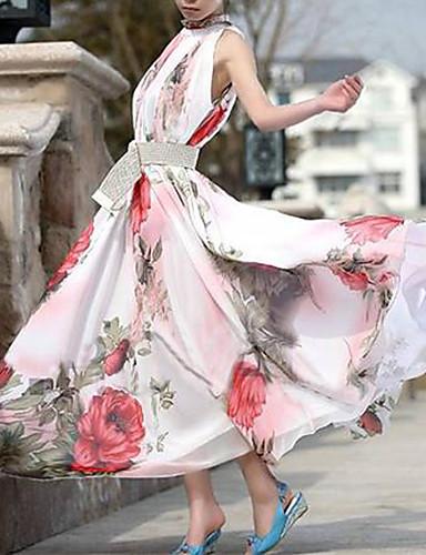 Women's Boho Floral Pink Dress,Vintage/Maxi Stand Ruff Collar Sleeveless Swing