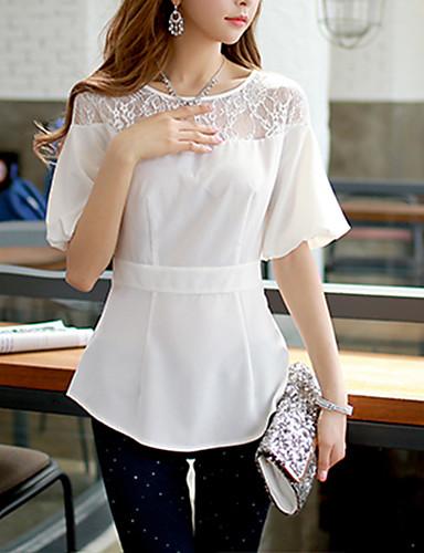 Жен. Кружева Рубашка Простой Однотонный Фонарь рукавом