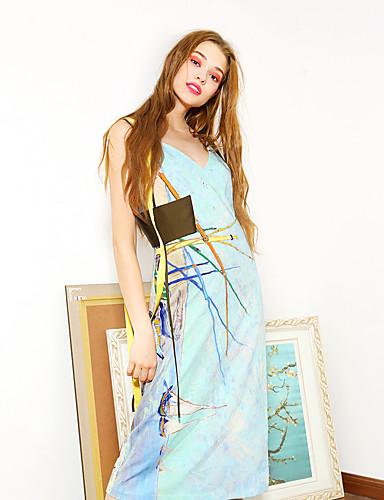 liangsanshi kvinders afslappet / daglig vintage løs kjole, geometriske v hals midi ærmeløs blå andre sommer