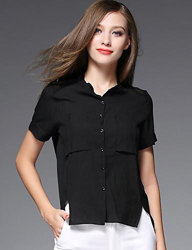 AJIDUO® Dame Høj krave Kort Ærme Shirt & bluse Sort Fade / Ivory-A9392
