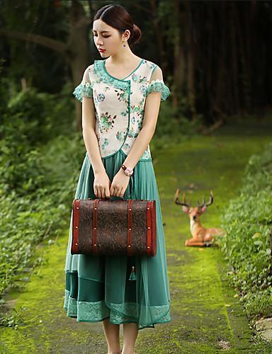 Kortærmet Sweetheart Tynd Kvinders Grøn Blomstret Sommer Vintage I-byen-tøj T-shirt,Rayon / Polyester