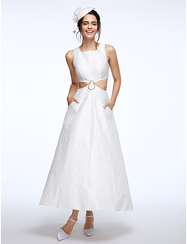 A-Line Square Neck Ankle Length Kapok Fabric Wedding Dress with Beading by LAN TING BRIDE®