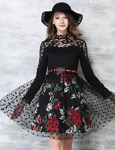 Feminino Evasê Vestido,Festa Para Noite Feriado Vintage Moda de Rua Sofisticado Floral Colarinho Chinês Acima do Joelho Manga Longa