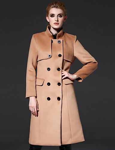 frmz kvinders gå ud street chic coatsolid stå langærmet efterår / vinter brun uld / polyester medium