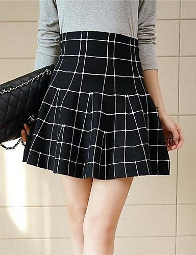 Polyester / Spandex-Micro-elastisch-Eenvoudig-Boven de knie-Vrouwen-Rokken