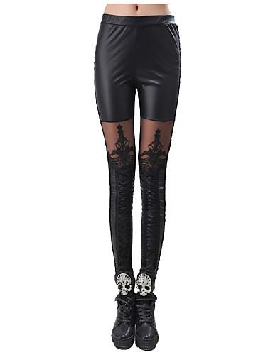Vrouw Stiksel kant Legging,Polyester
