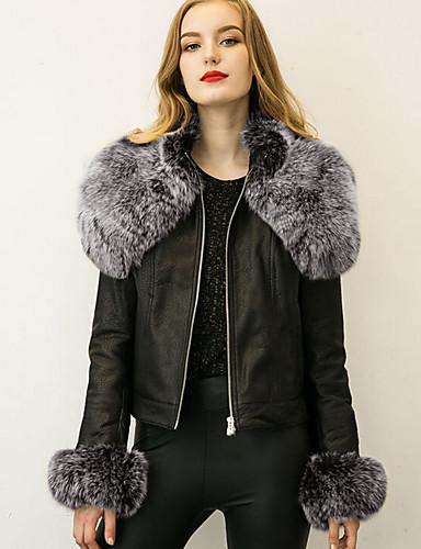 Dames Eenvoudig Winter Bontjas,Casual/Dagelijks / Grote maten Overhemdkraag-Lange mouw Zwart Effen Dik Imitatiebont / PU
