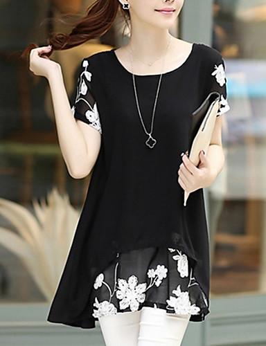 여성용 플러스 사이즈 루즈핏 쉬폰 드레스 - 플로럴 미니