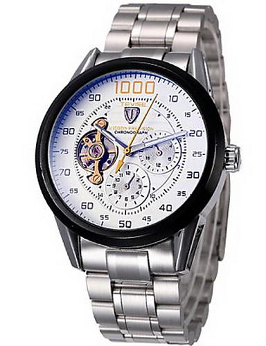 Tevise Herrn Mechanische Uhr Armbanduhr Automatikaufzug Chronograph Wasserdicht Edelstahl Band Cool Silber