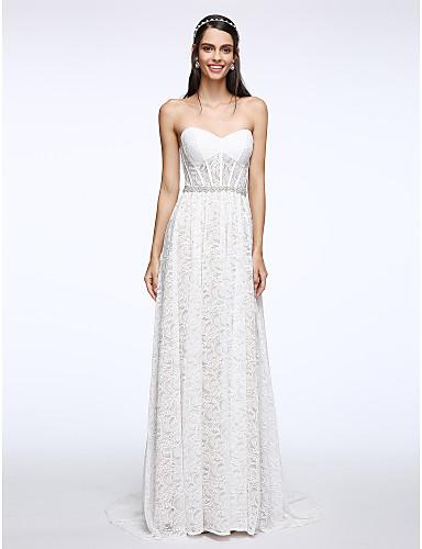 מעטפת \ עמוד לב (סוויטהארט) שובל סוויפ \ בראש תחרה שמלת חתונה עם קריסטל תחרה על ידי LAN TING BRIDE®