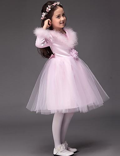 Baljurk knie lengte bloem meisje jurk - tule lange mouwen juweel hals met sequin