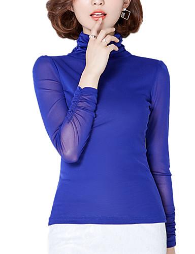 Rullekrave Dame - Ensfarvet, Net Arbejde Plusstørrelser Bluse Polyester
