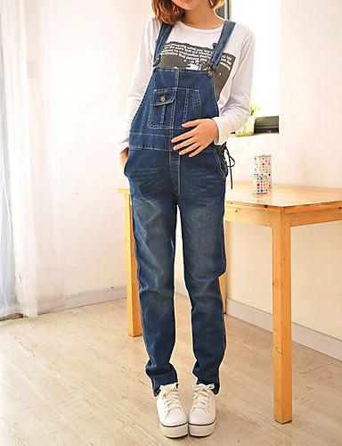 Femme simple non élastique Jeans Pantalon Couleur Pleine
