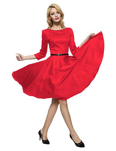 여성용 퍼프 루즈핏 칼집 스케이터 드레스 - 솔리드, 크리스-크로스