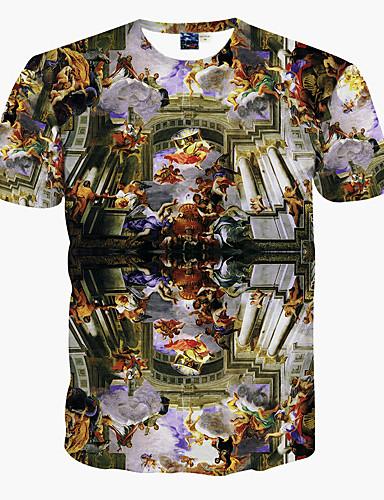 Rund hals T-skjorte Herre Trykt mønster Aktiv Bohem Strand