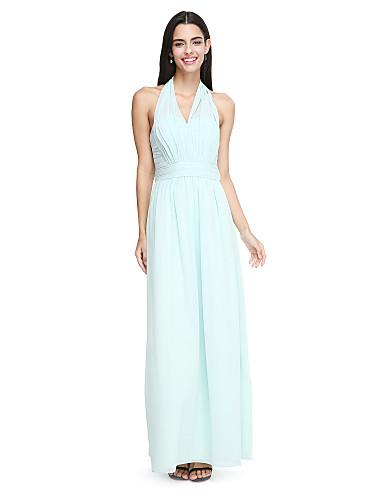Sheath / Column Halter Ankle Length Chiffon Bridesmaid Dress with Sash / Ribbon Pleats Ruched by LAN TING BRIDE®