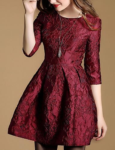 Feminino Bainha Vestido,Casual Simples Jacquard Decote Redondo Acima do Joelho Manga ¾ Vermelho Poliéster Outono / Inverno Cintura Média